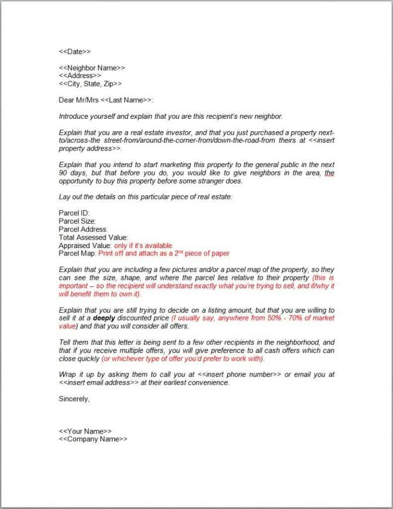 neighbor letter template
