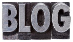 blog word in grunge metal type