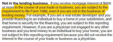 not in lending business