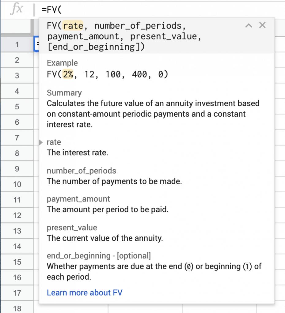 google sheets compound interest formula