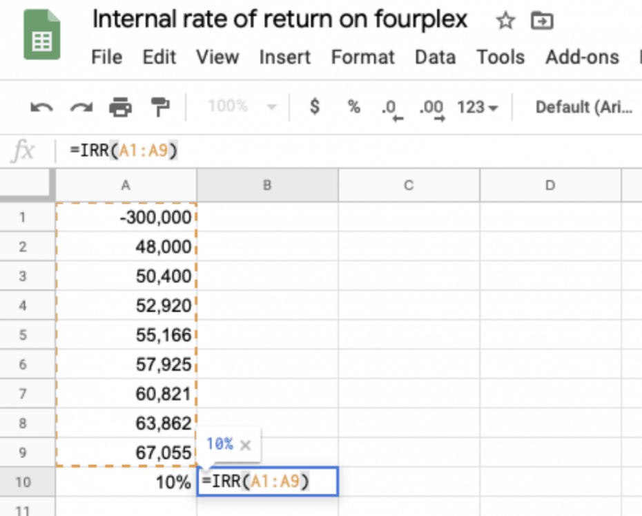 irr google sheets formula