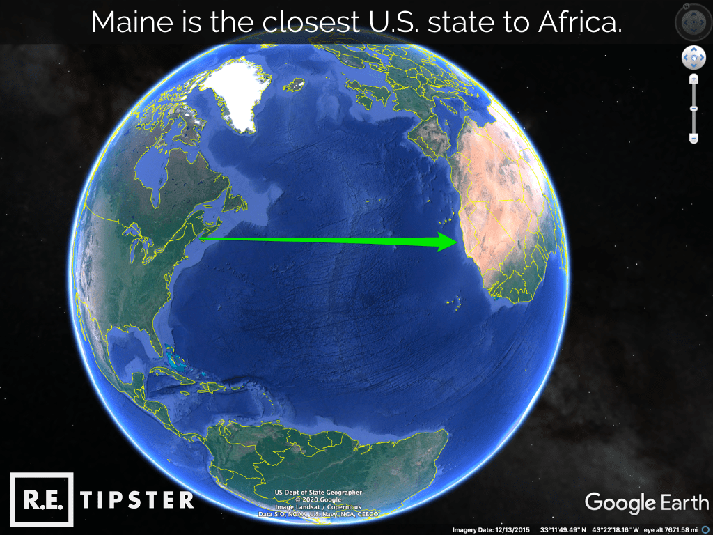 maine closest us state to africa