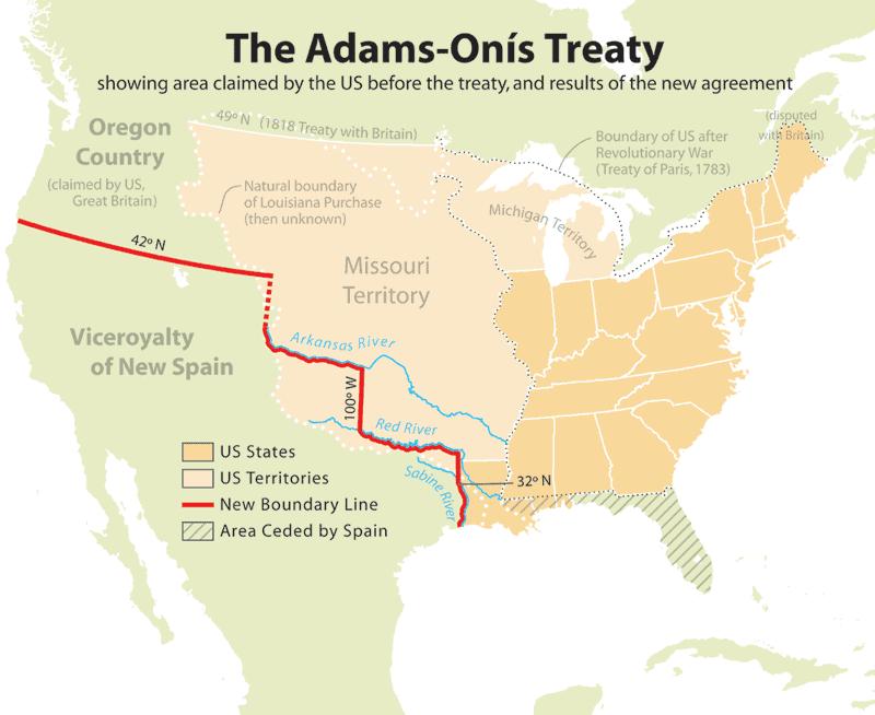 The Adams-Onis Treaty Map