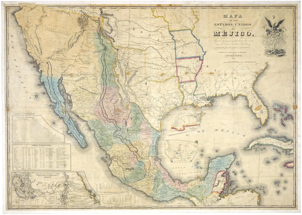 """""""Mapa de los Estados Unidos de Méjico"""" by John Disturnell, the 1847 map used during the negotiations"""