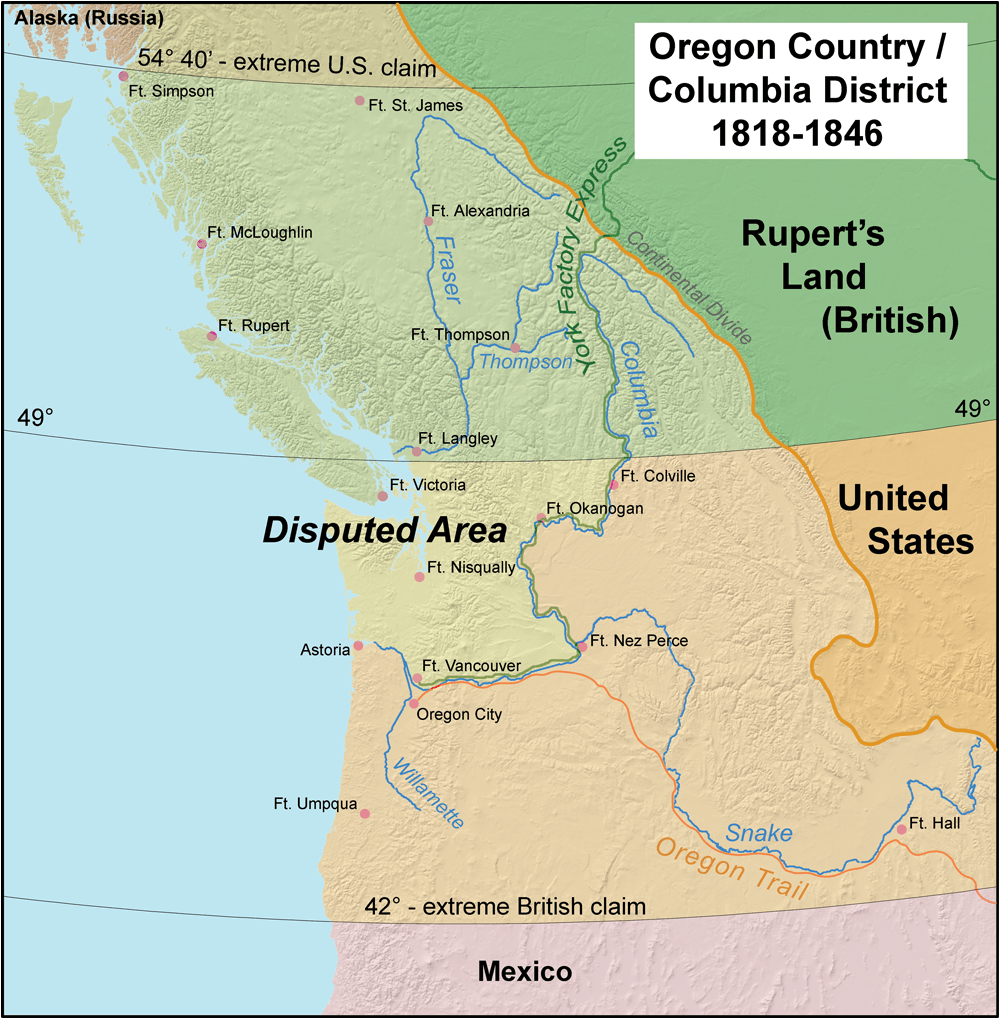 Oregon Country and the border dispute between the U.S. and Britain, 1818-1846.