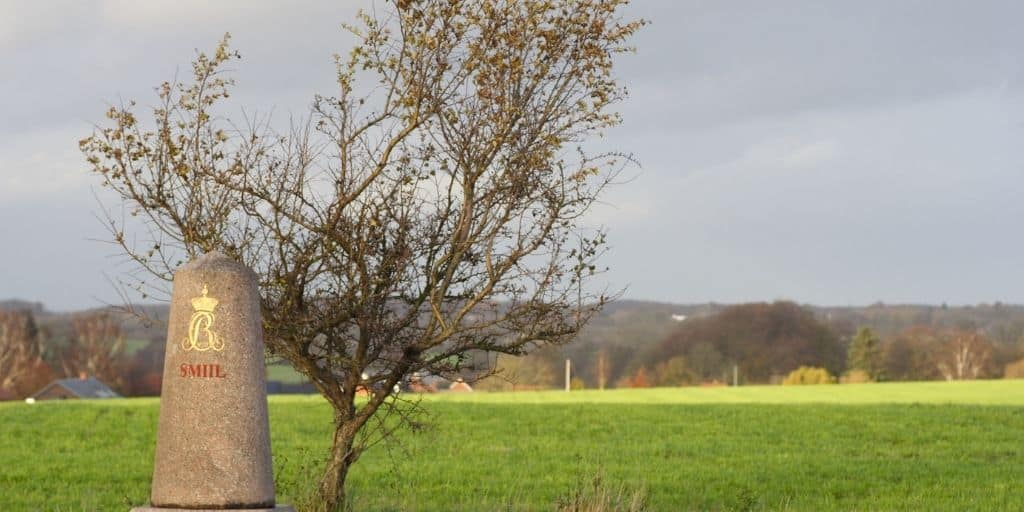 milestone with tree landmark in front of field